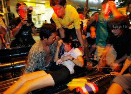 Bomb explosion hit the third floor of Saladaeng skytrain station on Thursday night, just 500 meters away from where the multicolor people were gathering.