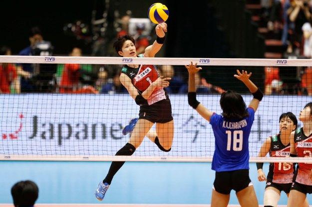 Nagaoka #1 of Japan spikes against Thailand