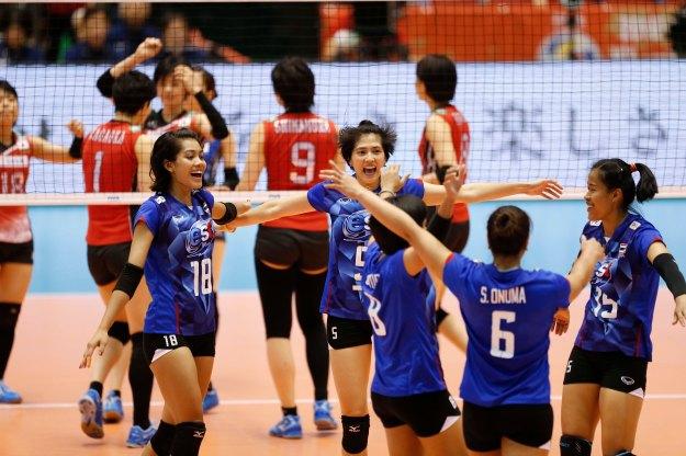 Thailand team celebrate a point