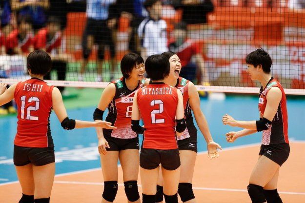 Team Japan celebrate a point