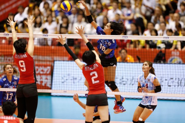 K.Ajcharaporn #18 of Thailand spikes against