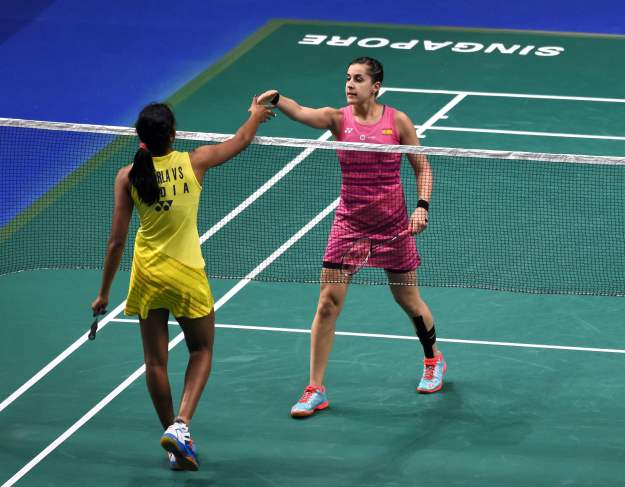 Sindhu loses to Carolina Marin, Praneeth enters Singapore semis